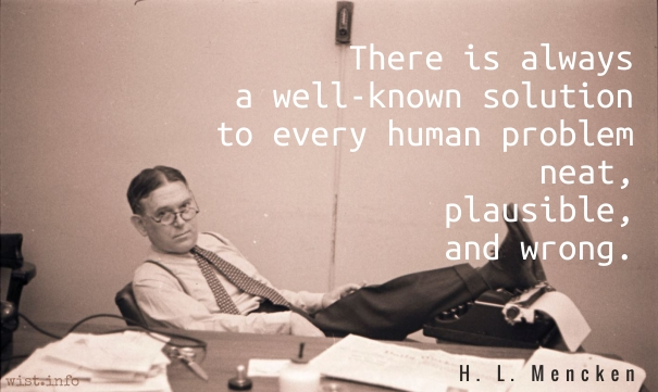 Mencken - neat plausible and wrong - wist_info quote