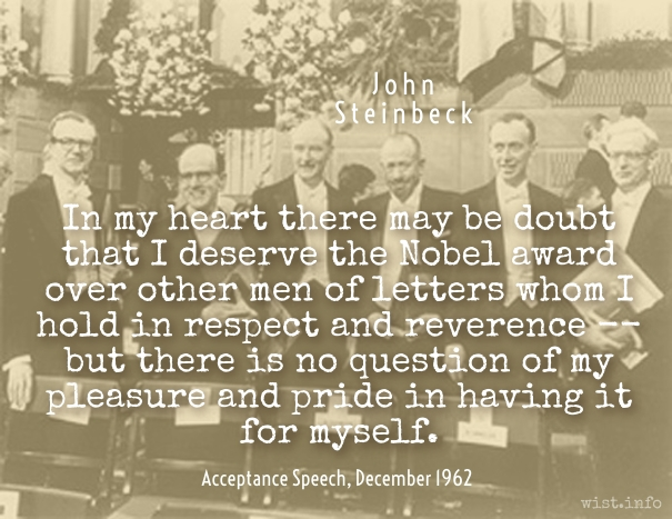 Steinbeck - Nobel prize - wist_info