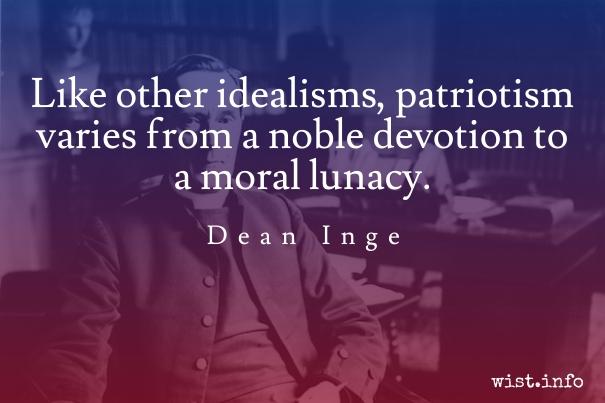Dean Inge - patriotism - wist-info