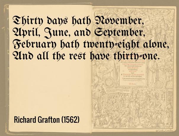 Grafton - thirty days hath november - wist_info quote