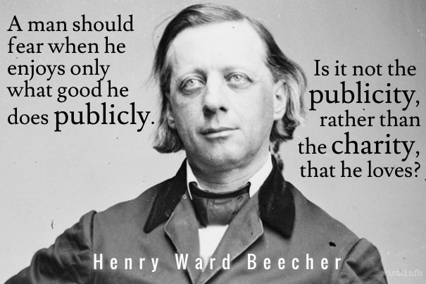Beecher - what good he does publicly - wist_info quote